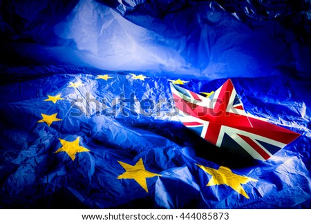 Brexit referendum UK (United Kingdom or Great Britain or England) withdrawal from EU (European Union),British vote leave. The boat flag of UK Symbolic that represent a lot of concept design to Brexit. - stock photo
