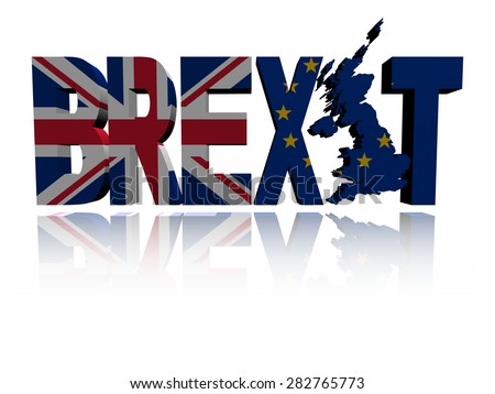 Brexit text with British and Eu flags illustration - stock photo