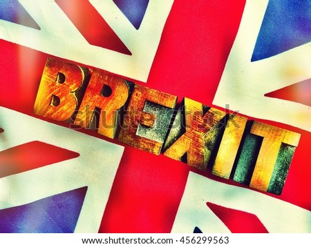 Brexit word on British flag - stock photo