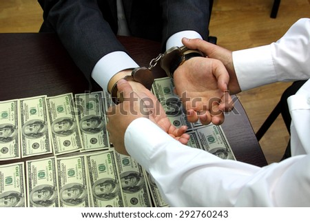 bribe. arrested for bribery. caught red-handed - Stock Image - stock photo