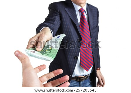 Bribe businessman concept - stock photo