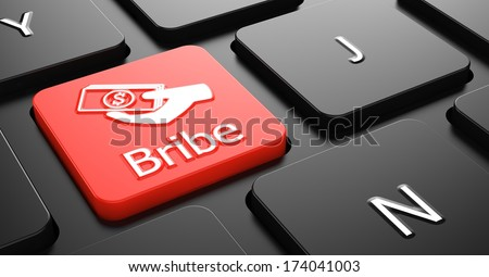 Bribe with Money in the Hand Icon - Red Button on Black Computer Keyboard. - stock photo