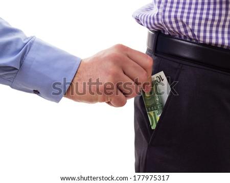 Briber. Man bribing another man with money - stock photo