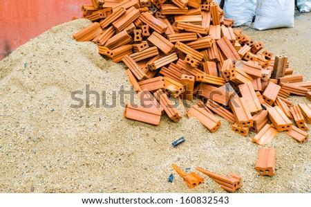 brick and sand - stock photo