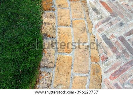 Brick and stone path in Tuscany, Italy - stock photo