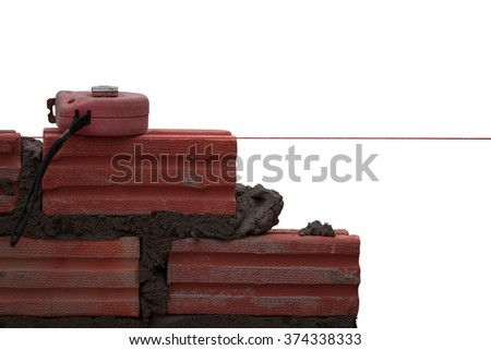 Brick,bricklayer,bricklaying,Masonry highly qualified for the nursery. On a white background - stock photo