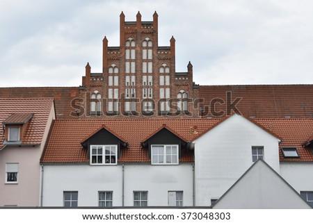 Brick building in spremberg. - stock photo