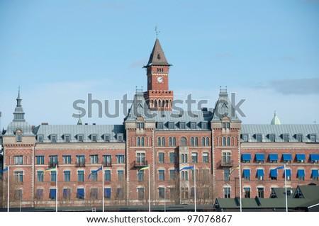 brick building sweden - stock photo