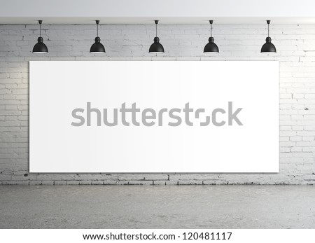 brick concrete room with poster on wall - stock photo