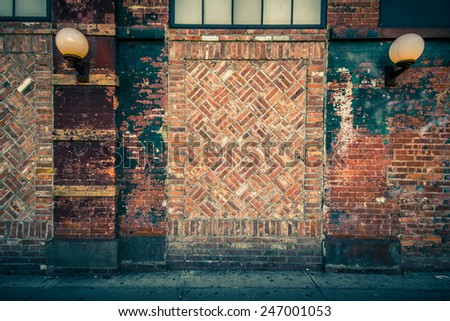 Brick exterior wall for background - stock photo