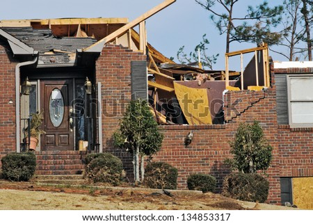 brick house destroyed by an EF2 tornado in Columbus GA USA during the month of March.  - stock photo