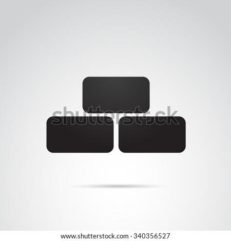 Brick icon isolated on white background. - stock photo