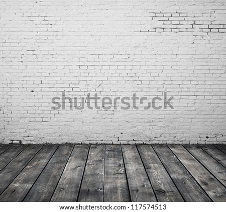 brick interior and wooden floor - stock photo