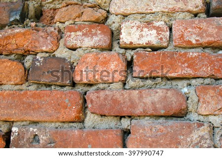 Brick masonry ancient wall. Texture of wall from a red brick. The background of bricks. Brickwork of an old building. - stock photo
