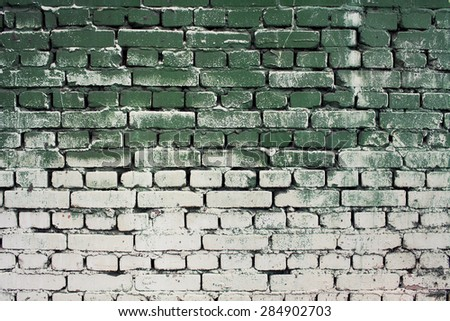 Brick old wall texture with gradient paint green white colors for background or design, abstract photo - stock photo