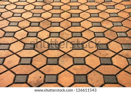 Brick pavement pattern - stock photo