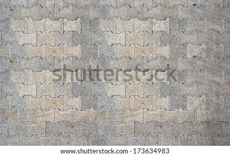 Brick pavement tile, top view. Urban texture as background. - stock photo