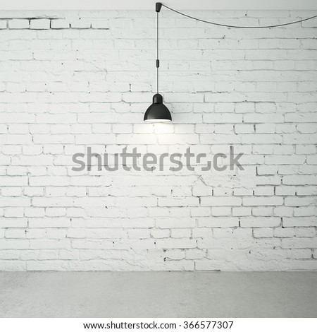 brick room with ceiling lamps - stock photo