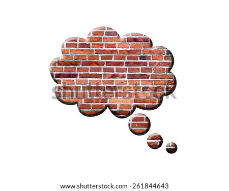 Brick Speech Bubble, isolated on white background. The classic bubble - stock photo