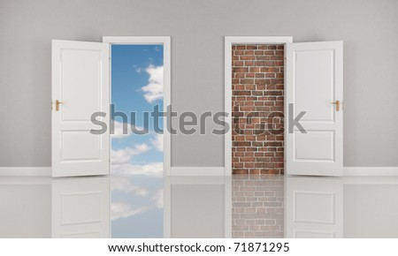 brick wall and blue sky  behind two open white door - rendering - stock photo