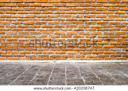 brick wall and floor room interior design - stock photo