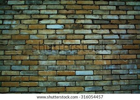 brick wall; background brick wall - stock photo