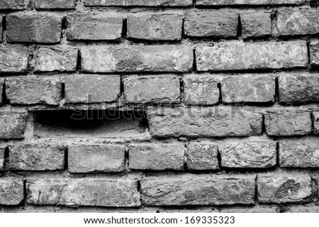 Brick wall, black&white - stock photo
