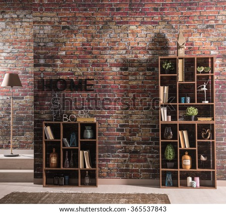 brick wall home bookshelf with lamp and rug  - stock photo