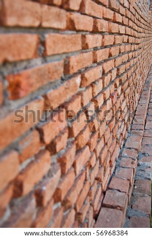 Brick wall in building home - stock photo