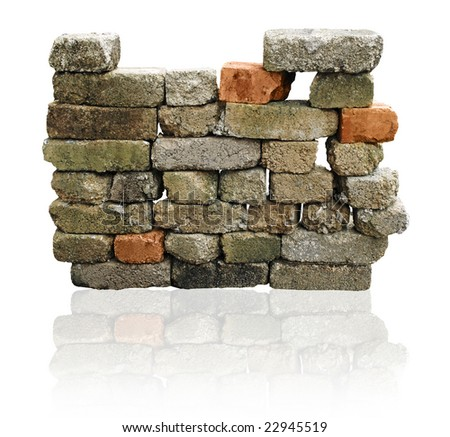 brick wall isolated with clipping path - stock photo