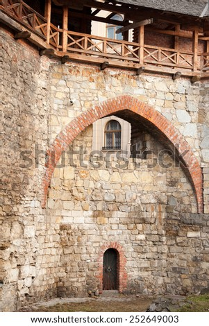 Brick wall of medieval Royal Arsenal in Lviv, Ukraine - stock photo