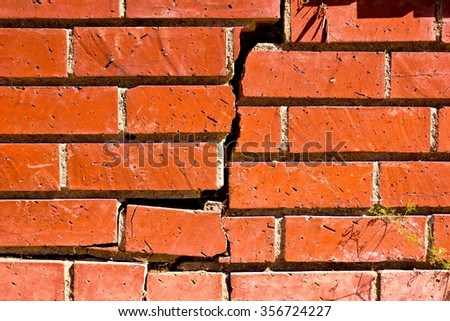Brick wall old and run down, is crackdown in the middle. - stock photo