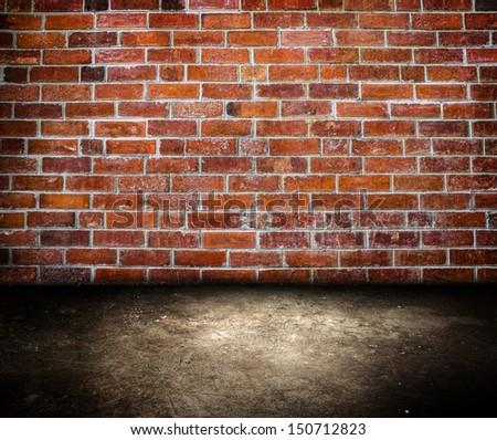 Brick wall room - stock photo