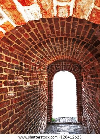 brick wall tunnel enter passage , Belgrade, Serbia - stock photo