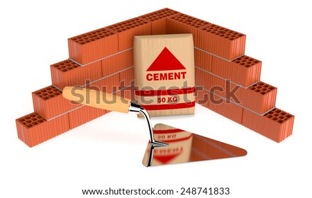 brick wall with a bag of cement and a big trowel, concept of construction site (3d render) - stock photo