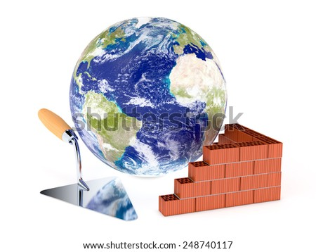 brick wall with a big trowel and a world globe, concept of building (3d render) Elements of this image furnished by NASA - stock photo