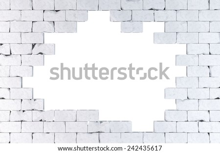 Brick wall with a large hole. Isolated on white. Contains clipping path - stock photo