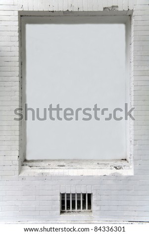 brick wall with blank space - empty banner - stock photo