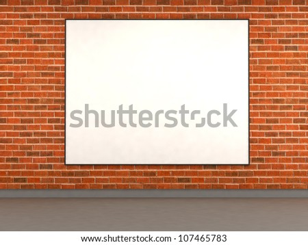 Brick wall with empty ad space. 3d illustration - stock photo