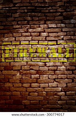 Brick wall with Firewall text - cyber security concept                                - stock photo