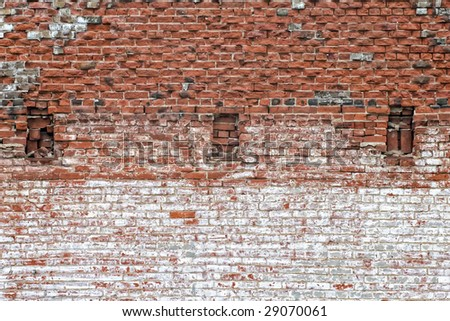 Brick Wall with 3 openings - stock photo