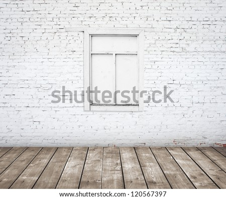 brick wall with wood window with wood floor - stock photo