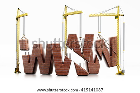 Brick www letters carried by construction cranes forming www word. - stock photo
