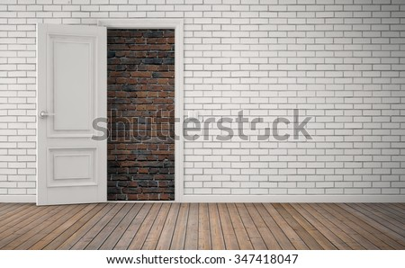 Bricked up door in room. No way out concept. 3D rendering - stock photo