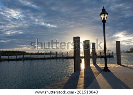 Brickell at a distance - stock photo