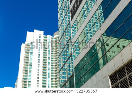 Brickell district in Miami downtown in Florida, USA - stock photo