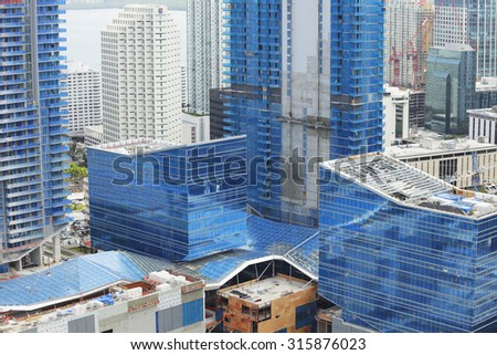 BRICKELL - SEPTEMBER 5: Image of Brickell City Center near completion which is a $1 billion mixed use project which will have condos, shoppes, and retail space once complete September 5, 2015.  - stock photo