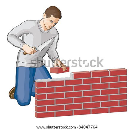 Bricklayer is an illustration of a man building a brick wall. - stock photo