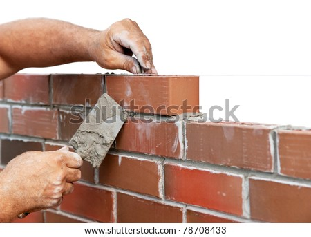 Bricklaying isolated on white - stock photo