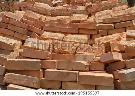 Bricks from clay. - stock photo